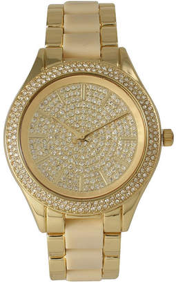 OLIVIA PRATT Olivia Pratt Womens Rhinestone Bezel Rhinestone Dial Gold Cream Two Tone Gold Cream Bracelet Watch 15295