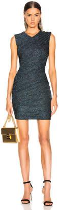 Balmain Draped Jersey Lurex Mini Dress in Black, Silver & Blue | FWRD