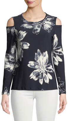 Donna Karan Cold-Shoulder Floral Tee