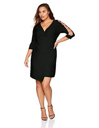 MSK Women's Plus Size Ruched Asymetrical Dress with Rhinestone Sleeve