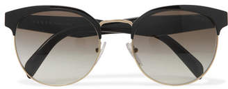 Prada - Round-frame Acetate And Gold-tone Sunglasses - Black $310 thestylecure.com