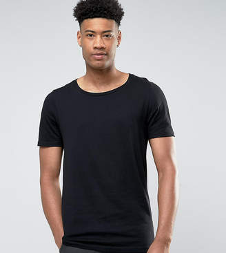 Asos DESIGN Tall longline t-shirt with scoop neck in black