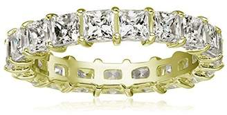Swarovski La Lumiere Yellow Gold Plated Sterling Silver Zirconia Princess Cut All-Around Ring Size P1/2
