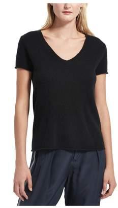 ATM Anthony Thomas Melillo Black Cashmere Short Sleeve V-Neck Sweater