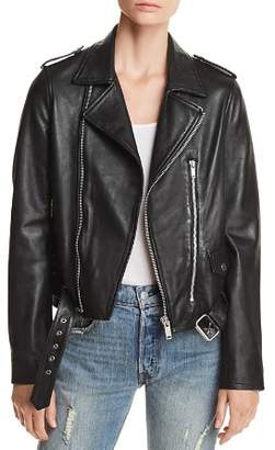 Aqua Belted Leather Moto Jacket - 100% Exclusive
