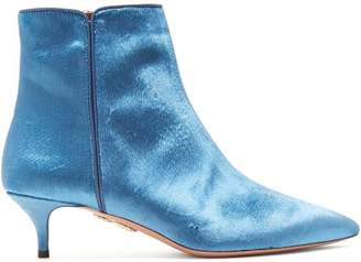 Aquazzura Quant 45 Point Toe Velvet Ankle Boots - Womens - Blue