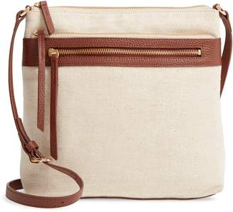 Nordstrom Kaison Linen & Leather Crossbody Bag