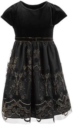 Good Lad Toddler Girls Velvet Glitter Party Dress