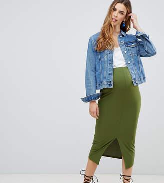 115fd54a358 Asos DESIGN Maternity rib midi pencil skirt with front split