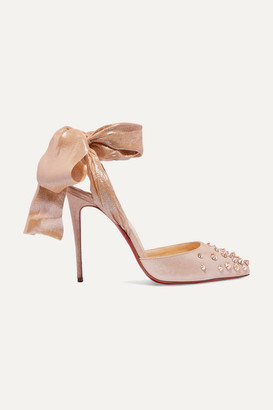 Christian Louboutin Drama Douce 100 Chiffon-trimmed Spiked Glittered Suede Pumps - Antique rose