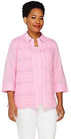 Denim & Co. Eyelet Big Shirt and Knit TankSet