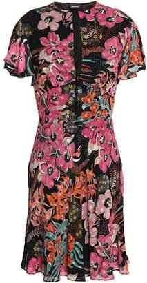 Just Cavalli Fluted Floral-Print Crepe De Chine Mini Dress