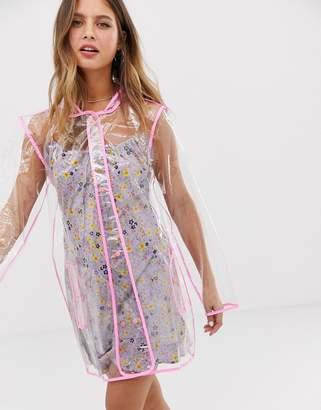 Brave Soul transparent rain mac with neon pink binding