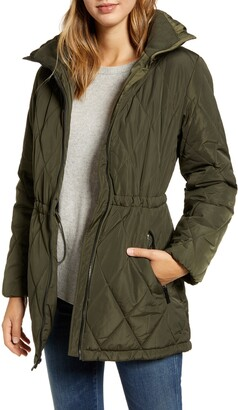 Ellen Tracy Cinch Waist Quilted Jacket