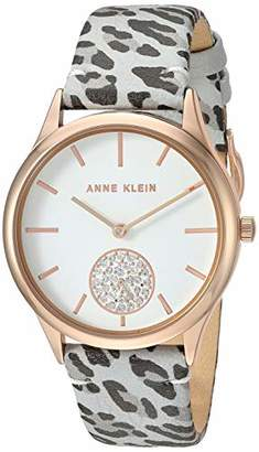 Anne Klein Women's AK/3324GYLE Swarovski Crystal Accented Rose Gold-Tone and Grey Leopard Patterned Leather Strap Watch