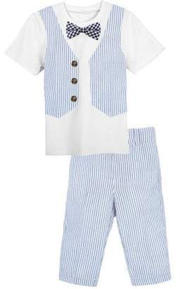 dcc377b7a2771 G-Cutee Little Boys White Tee with Seersucker Vest and Pant Outfit Set,  Available