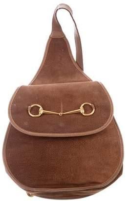 6d193518dfee Gucci Vintage Suede Horsebit Sling Bag