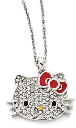 Hello Kitty Sterling Silver Czech Crystals Flat Face & Red Bow Dangle Pendant Necklace