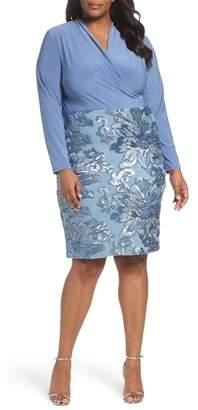 Marina Sequin Faux Wrap Sheath Dress