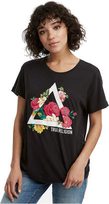 True Religion WOMENS TRIANGLE FLORAL GRAPHIC TEE