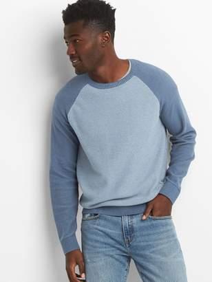 Gap Lightweight Raglan Textured Crewneck Sweater