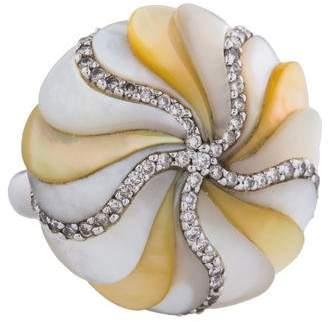 Mother of Pearl Piranesi 18K & Diamond Gadrooned Bombe Ring