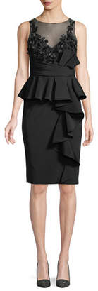 Marchesa Little Black Cocktail Dress w/ Asymmetric Ruffle Skirt