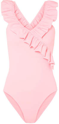 Maje Ruffle-trimmed Stretch-jersey Bodysuit - Pink