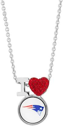 Sterling Silver Crystal I Love New England Patriots Team Logo Heart Pendant