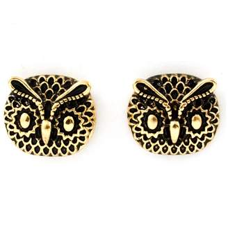 Ella Antiqued Gold Owl Face Post Earrings
