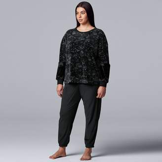 Vera Wang Plus Size Simply Vera Velour Pajama Top and Banded-Bottom Pajama Pants Set