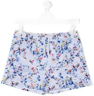 Dondup Kids gingham bird print shorts