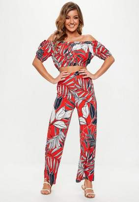 Missguided Red Tropical Floral Print Co Ord Set