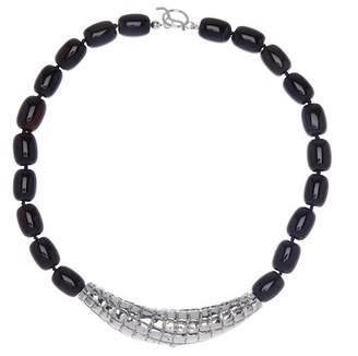 Simon Sebbag Sterling Silver Croc Embossed Collar & Black Agate Necklace