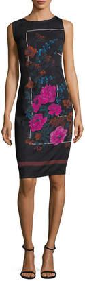 Tracy Reese Floral Print Sheath Silk Dress