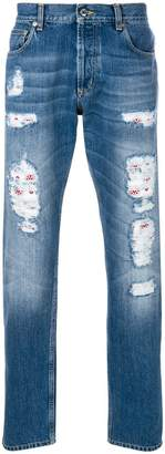 Alexander McQueen distressed folk embroidery jeans