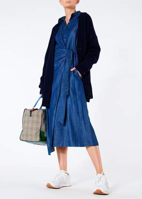 Tibi Dark Indigo Drape Shirt Dress