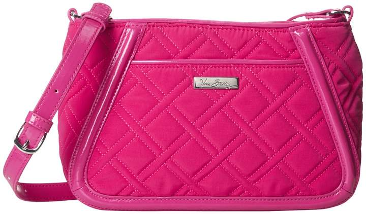 Vera Bradley Trimmed Trapeze Crossbody Cross Body Handbags - FUCHSIA - STYLE