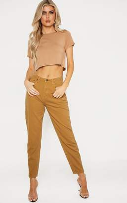 PrettyLittleThing Tall Camel Denim Mom Jeans