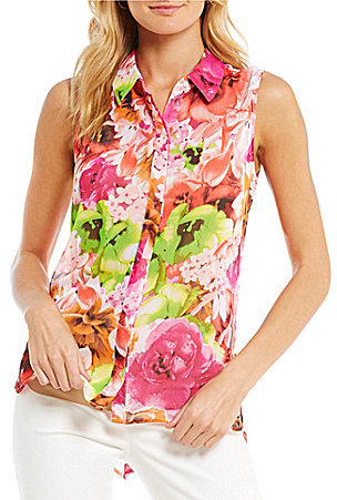CeCe CeCe Sleeveless Floral Crinkle Chiffon Blouse