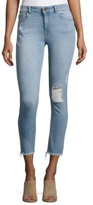 DL1961 Premium Denim Farrow Instaslim High-Rise Skinny Ankle Jeans with Raw Hem, Trophy $208 thestylecure.com