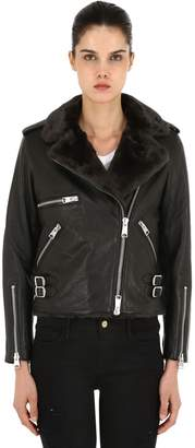 AllSaints Balfern Leather Biker Jacket W/ Faux Fur