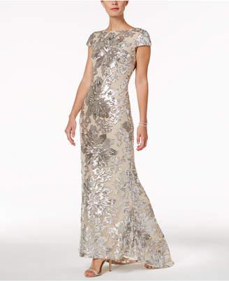Calvin Klein Embellished Cowl-Back Gown
