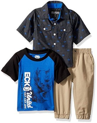 Ecko Unlimited Unltd. Short Sleeve Tee, Button Up and Pant 3 Piece Set (Little Boys & Big Boys)