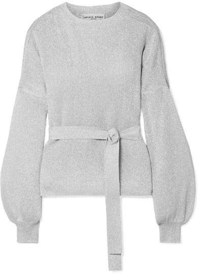 Apiece Apart Arkestra Metallic Ribbed-knit Sweater - Silver