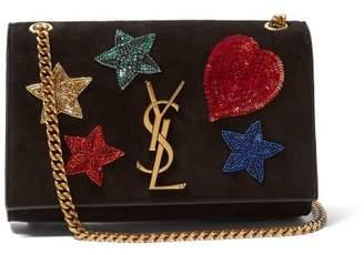 Saint Laurent Kate Beaded Monogram Suede Cross Body Bag - Womens - Black Multi