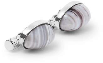 Bottega Veneta Sterling Silver Agate Cufflinks - Men - Silver