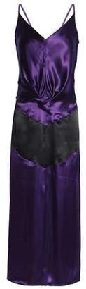 Nina Ricci Draped Two-Tone Satin Midi Dress