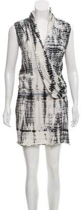 Black Crane Tie-Dyed Surplice Dress