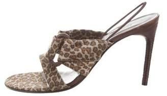 Bottega Veneta Satin Leopard Print Slingback Sandals